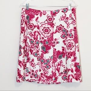 Etcetera Pleated Floral Pink Linen Blend Skirt 10